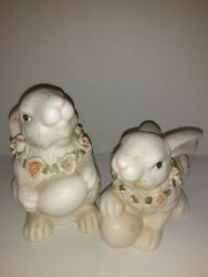 Ks Collection Figurines Pair Of Bunnies With Eggs