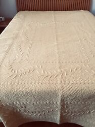 Olivia New Hand Quilted Trapunto King Size 100 Percent Cotton Quilt / Bedspread