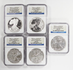 2011 Silver American Eagle 25th Anniversary 5 Coin Set Ngc Ms69 Proof Pf69 1