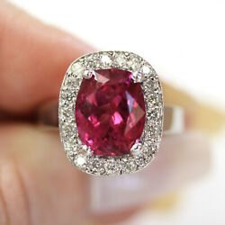 5.7 Ctw Natural Pink Tourmaline And Diamond Solid 14k White Gold Big Cocktail Ring