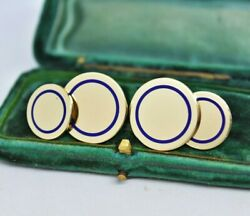 Antique 14ct Gold And Co. Cufflinks Royal Blue Enamel 17.71g Present Gift