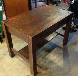 Arts And Crafts Mission Oak Antique Craftsman Library Table, Writing Desk 32237