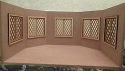Dollhouse Miniature Beveled Roombox Kit With Double Working Windows New