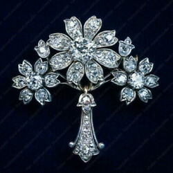Antique 4.0 Ct Diamond Floral Brooch Pin 1890s in 14k White Gold Over For Unisex $221.61