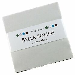 Bella Solids Feather White Moda Charm Pack By Moda Fabrics 42-5 Quilt Squares