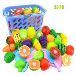8-23pc/set Food Pretend Role Play Toys Kitchen Cutting Fruit Vegetable Kids Gift