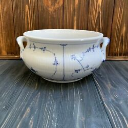 Early Royal Copenhagen 1800 Blue Fluted Plain Tureen With Lid Serving Bowl