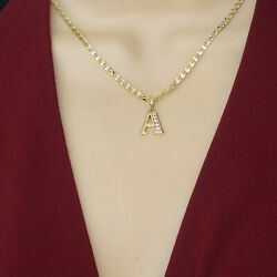 14k Gold Plated Initial Letter Name Pendant Necklace With Chain. Oro Laminado