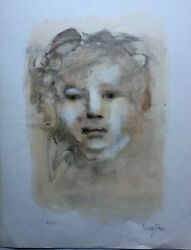 Leonor Fini Visage Lithograph Hand Signed With Pencil By Fini + H.c.