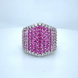 Effy 14k White Gold Diamond And Pink Sapphire 4.50ct Tw Cocktail Ring 5999 New