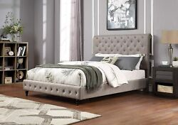 Casual Design Grey Tufted Upholster And Black Legs Est.king Size Bed 1pc Furniture