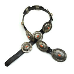 Thomas Jim - Navajo Coral, Silver And Leather Concho Belt C. 1980s Size 25-30.25