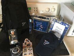 St Louis Blues Set Backpack Bobble Head Lunch Box Photo Frme Tooth Brsh, Hat Nhl
