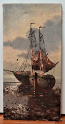 Signed P. Pablo Nautical Painting On Canvas Unframed