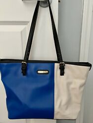 Anne Klein Purse (Medium Tote) Royal Blue Black & Off White! (Pre-owned) $15.50