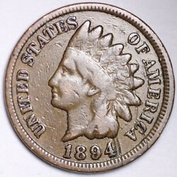 1894/94 Indian Head Small Cent Choice Fine+/vf Free Shipping E134 T