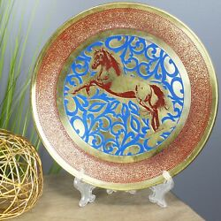 Natural Geo Horse Jumping Decorative Brass Accent Plate