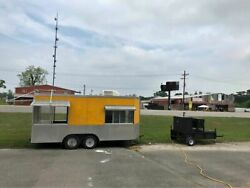 20' Barbecue Concession Trailer w  Towable Commercial Open BBQ Smoker Trailer f