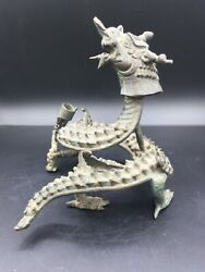 Ancient Han Dynasty Chinese Dynasty Bronze Dragon Candle Stands