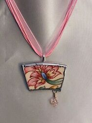 Broken China Pink/red Flower Pendant From Royal Doulton Jacobean Salad Plate