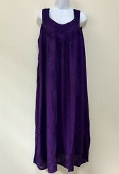 Beautiful Embroidered Sleeveless Purple Long Summer DressOne Size Fits All 3925 $12.99