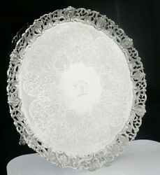 Scottish Antique Sterling Silver Salver Pierced Border Marshall And Sons 1843