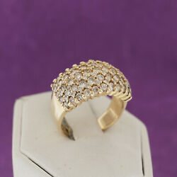 14k Yellow Gold Lades Big Wide Round Genuine Diamond Pave Band Ring Size 7.50