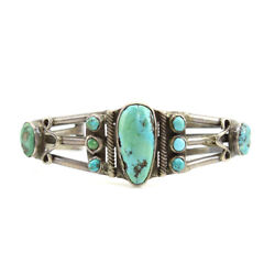 Navajo Turquoise And Silver Bracelet C. 1920s, Size 7