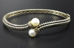 Tandc Town And Country Sterling Silver 14k Yellow Gold Pearl And Diamond Bracelet