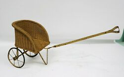 Antique Hedstrom-union Wicker Baby Doll Carriage Pram Stroller Buggy Pull Toy
