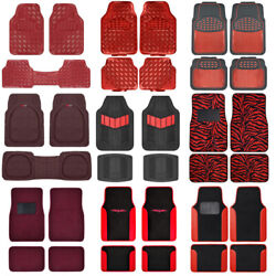 Red All Weather Heavy Duty Universal Car Floor Mats for Auto Van Truck SUV