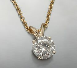1.52 Certified J Si2 Round Diamond Pendent 14k Yellow Gold 18inc With Chain