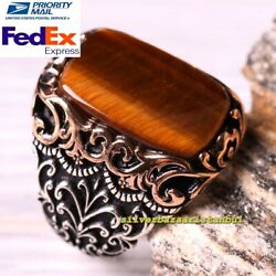Exclusive Natural Brown Tigers Eye Stone 925 Sterling Silver Mens Ring All Sizes