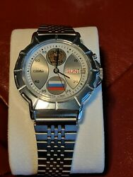 Russian President Watch With Flag On Face Mechanic Movement - Rare