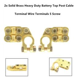 2x Solid Brass Heavy Duty Battery Top Post Cable Used In Cars Trucks New Energy