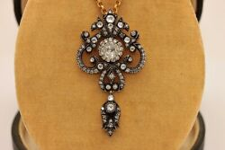 Antique Style Amazing 18k Gold Diamond And Rose Cut Diamond Decorated Necklace