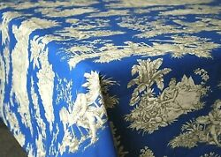 LE CLUNY VILLANDRY BLUE FRENCH COATED COTTON TOILE TABLECLOTH 60quot; x 84quot; NEW