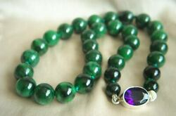 Amazing Estate Deep Rich Green Jade Amethyst Sterling Silver Clasp Necklace 20