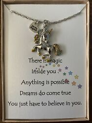Unicorn Pendant necklace w love poem for your daughter And Loved One $15.95