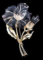 """Spectacular 4"""" Vtg Jelly Belly Lucite Rose Flower Figural Rhinestone Pin Brooch"""
