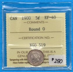 Canada 1900 Round 0 5 Cents Five Cent Small Silver Coin - Iccs Ef-40