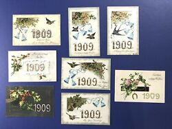 8 New Years Antique Postcards. Year Dates 1909. Publ. Winsch For Collectors Nice