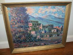 Charles Bowen Sims Oil On Board Painting Taos Mountains Pueblo Indians