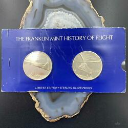 Franklin Mint History Of Flight Coins Set Of 2 75 Grams .925 Sterling Silver 2