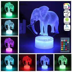 3d Elephant 16 Color Rgb Led Night Light Remote Control Touch Switch Lamp