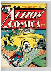 Action Comics 30 Vf+ 1940 Pre Wwii Superman