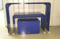 Vintage Industrial Blue Metal Child School Desk Stool And Carryall Box