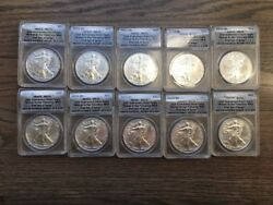 2011 S Silver Eagle Dollar Anacs Ms70 25th Anniver. First Day Issue-10 Pc Lot