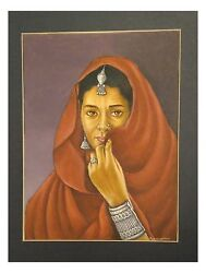 Indian Handmade Original Fine Miniature Paper Painting Old Woman Water Color Art
