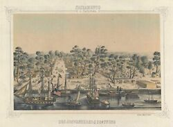 Gold Rush View Of Old Town Sacramento Around The Time Of California's Statehood.